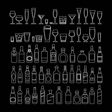 bottles and glasses line white icon set vector illustration. Holiday celebration. Alcohol drinks on black background Illustration