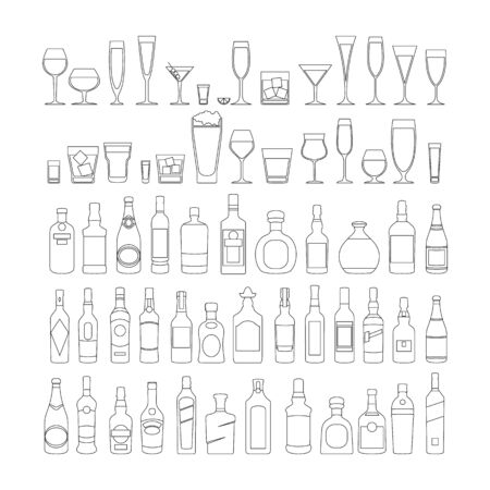 bottles and glasses line black icon set vector illustration. Holiday celebration. Alcohol drinks on white background. art 向量圖像