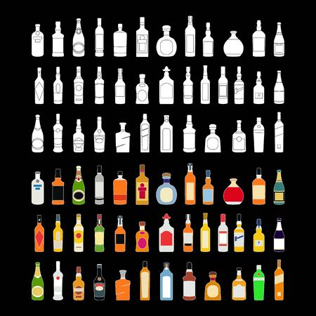 vector Alcohol bottles line icons set. illustration drinks. Object for advertising and web isolated on black background art