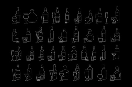Bottles and glasses illustration for bars, pubs and restaurants. Creative decoration for parties, flyers, brochures, t-shirts. Chalk board style. vector art