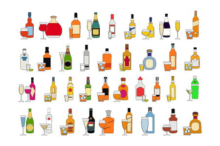 Set of different bottles of alcohol drinks with glasses. isolated on white background vector illustration. Holiday celebration. art Stock Vector - 124118011