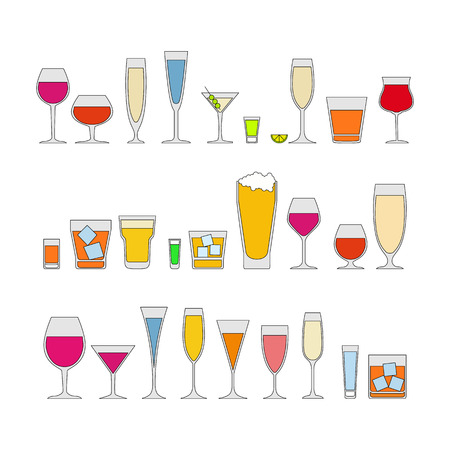 Cocktails, drinks glasses vector icons set of alcohol drinks. isolated on white background vector illustration. Holiday celebration. art