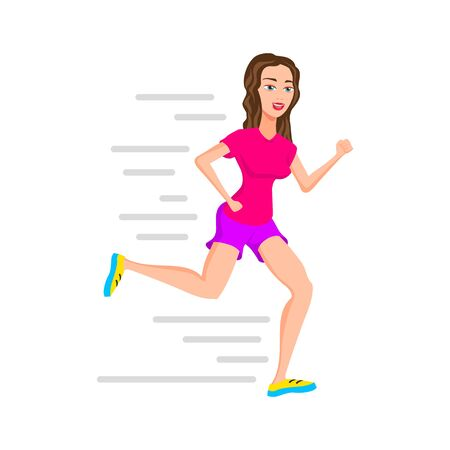 young woman runner running or jogging girl vector isolated character outdoor activities young active pastime nurturing spirit and willpower. Vector illustration of a flat design art 일러스트