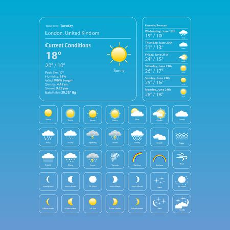 set weather icons. All icons for weather with sample of use. Foto de archivo - 129734543