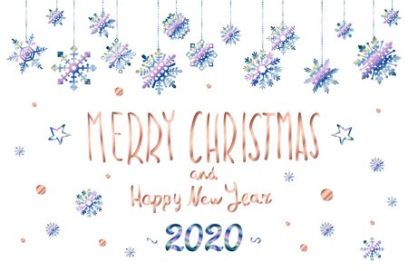 Merry Christmas and Happy New Year 2020 year blue snowflakes glittering lettering design.  イラスト・ベクター素材