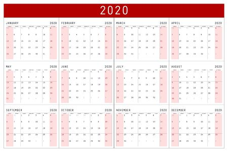 red Calendar 2020 vector basic grid. Simple design template. Vector illustration eps 10 art Illustration