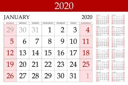 griglia di base del vettore rosso Calendario 2020 Modello di progettazione semplice. Illustrazione vettoriale eps 10 arte Vettoriali
