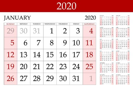 red Calendar 2020 vector basic grid. Simple design template. Vector illustration eps 10 art Vector Illustratie