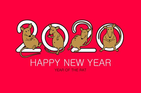 year of the rat 2020 sign lettering numbers calendar front page template greeting card design Vector illustration eps 10 art