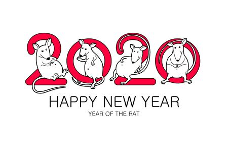Chinese new year 2020 year of the rat, red paper cut rat character, asian elements with craft style on white background. Vector illustration eps 10 art 向量圖像