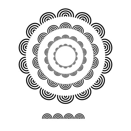 brushs patterns in a circle line black shape design vector graphic round frames with fully editable stroke width art