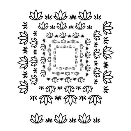 flower brushs patterns in a square line black shape design vector graphic Foto de archivo - 134441181