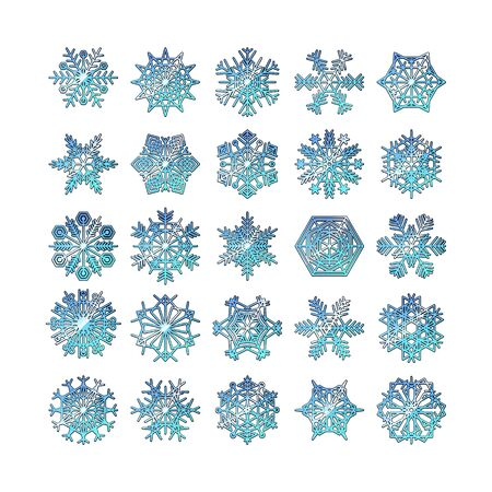 set 3d Snowflake icons line blue vector snow christmas winter art 일러스트