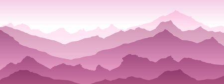 montagnes illustration fond Vue de rose - art vectoriel