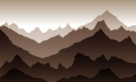 mountains eps 10 illustration background View of brown - vector art Illustration