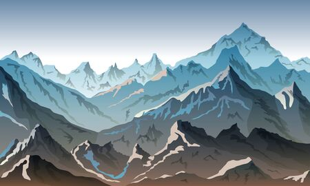 mountains eps 10 illustration background View of grey - vector art
