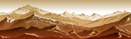 mountains eps 10 illustration background View of brown vector art