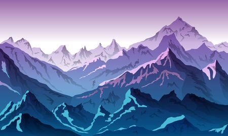 Vector illustration of blue color of mountains during sunset 向量圖像