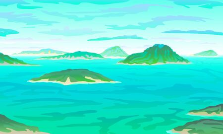 vector Tropical ocean landscape with island at turquoise ocean waives with near beach. eps 10 illustration background View of blue paradise art
