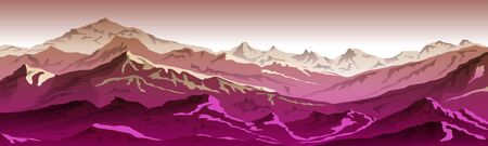 mountains eps 10 illustration background View of pink - vector art Ilustrace