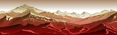 mountains eps 10 illustration background View of red - vector art