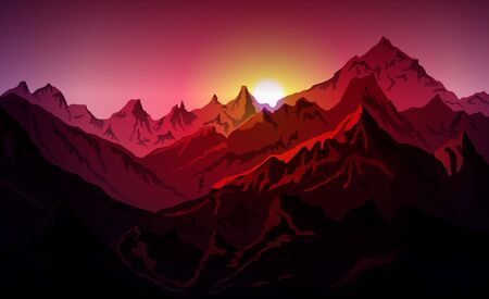 sunrice mountains illustration background View - vector art