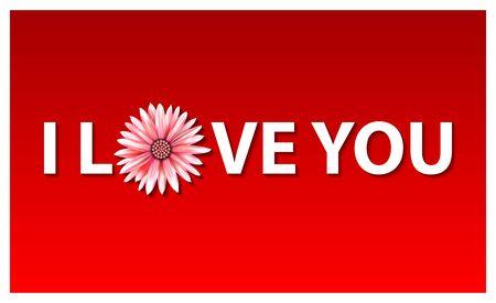 I love you vector illustration in flat design. flower red art
