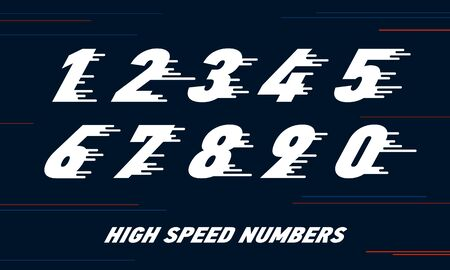 speed Sport numbers set logo design template. Vector sport style typeface for sportswear, sports club, app icon, corporate identity, labels or posters. Stock Illustratie