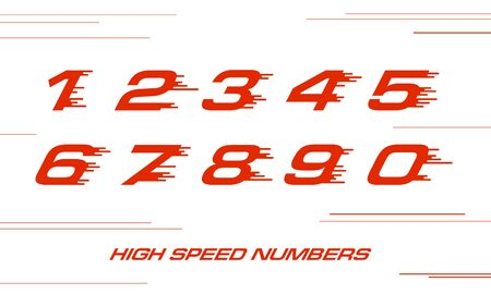 speed Sport numbers set logo design template. Vector sport style typeface for sportswear, sports club, app icon, corporate identity, labels or posters.
