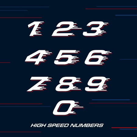speed Sport numbers set logo design template. Vector sport style typeface for sportswear, sports club, app icon, corporate identity, labels or posters.  イラスト・ベクター素材