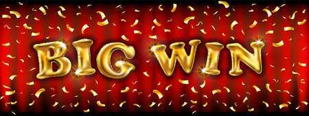 Big Win banner with golden ballons illuminated by spotlights with confetti. Vector illustration. Vector illustration design with poker, playing cards, slots and roulette. art Illusztráció