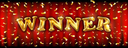 Winner banner with golden ballons. Vector illustration for winners of poker, cards, roulette, sport and lottery. art
