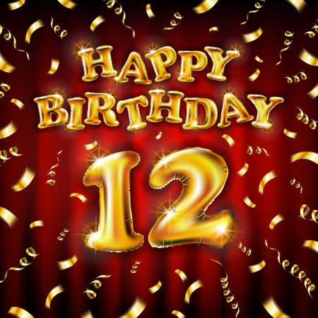 12 Happy Birthday message made of golden inflatable balloon twelve letters isolated on red background fly on gold ribbons with confetti. Happy birthday party balloons concept vector illustration art