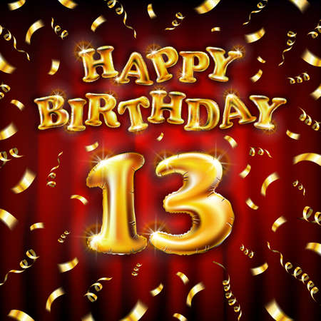13 Happy Birthday message made of golden inflatable balloon thirteen letters isolated on red background fly on gold ribbons with confetti. Happy birthday party balloons concept vector illustration art
