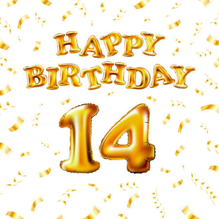 14 Happy Birthday message made of golden inflatable balloon fourteen letters isolated on white background fly on gold ribbons with confetti. Happy birthday party balloons concept vector illustration
