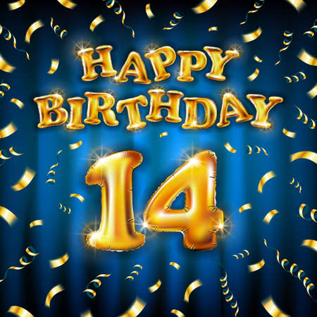 14 Happy Birthday message made of golden inflatable balloon fourteen letters isolated on blue background fly on gold ribbons with confetti. Happy birthday party balloons concept vector illustration