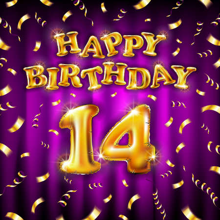 14 Happy Birthday message made of golden inflatable balloon fourteen letters isolated on pink background fly on gold ribbons with confetti. Happy birthday party balloons concept vector illustration Vettoriali