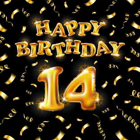 14 Happy Birthday message made of golden inflatable balloon fourteen letters isolated on black background fly on gold ribbons with confetti. Happy birthday party balloons concept vector illustration Vettoriali