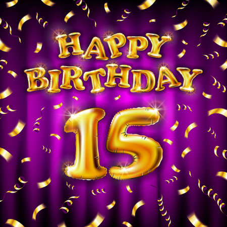 15 Happy Birthday message made of golden inflatable balloon fifteen letters isolated on pink background fly on gold ribbons with confetti. Happy birthday party balloons concept vector illustration
