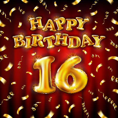 16 Happy Birthday message made of golden inflatable balloon sixteen letters isolated on red background fly on gold ribbons with confetti. Happy birthday party balloons concept vector illustration