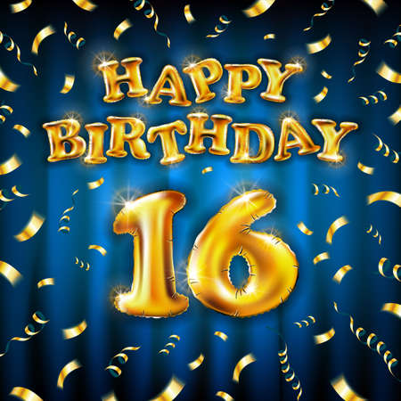 16 Happy Birthday message made of golden inflatable balloon sixteen letters isolated on blue background fly on gold ribbons with confetti. Happy birthday party balloons concept vector illustration