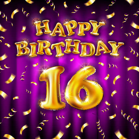 16 Happy Birthday message made of golden inflatable balloon sixteen letters isolated on pink background fly on gold ribbons with confetti. Happy birthday party balloons concept vector illustration