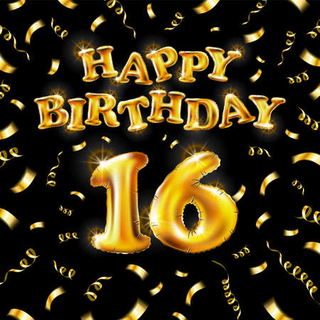 16 Happy Birthday message made of golden inflatable balloon sixteen letters isolated on black background fly on gold ribbons with confetti. Happy birthday party balloons concept vector illustration Vettoriali
