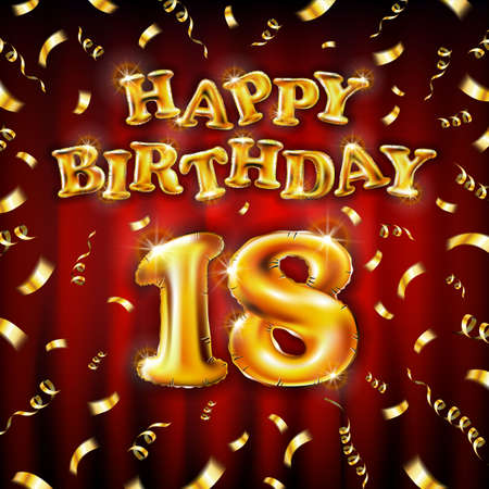18 Happy Birthday message made of golden inflatable balloon eighteen letters isolated on red background fly on gold ribbons with confetti. Happy birthday party balloons concept vector illustration Vettoriali