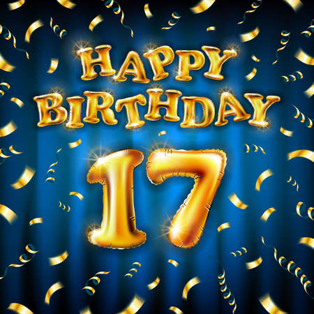 17 Happy Birthday message made of golden inflatable balloon seventeen letters isolated on blue background fly on gold ribbons with confetti. Happy birthday party balloons concept vector illustration