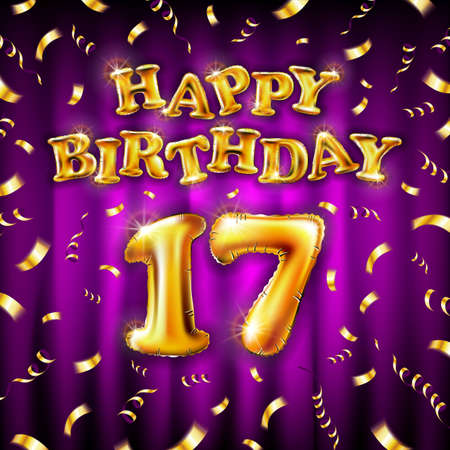 17 Happy Birthday message made of golden inflatable balloon seventeen letters isolated on pink background fly on gold ribbons with confetti. Happy birthday party balloons concept vector illustration Vettoriali