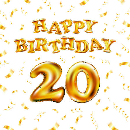 20 Happy Birthday message made of golden inflatable balloon twenty letters isolated on white background fly on gold ribbons with confetti. Happy birthday party balloons concept vector illustration