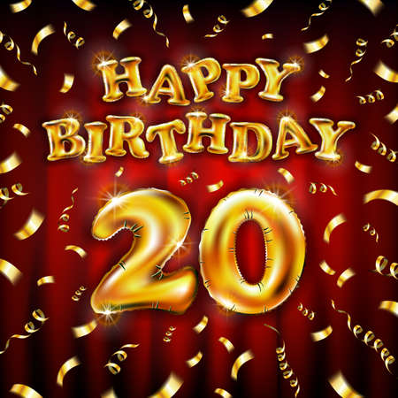 20 Happy Birthday message made of golden inflatable balloon twenty letters isolated on red background fly on gold ribbons with confetti. Happy birthday party balloons concept vector illustration