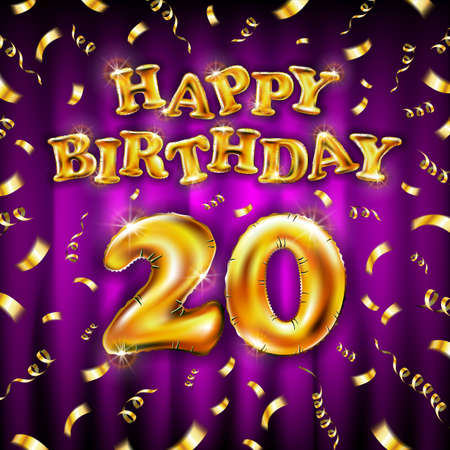 20 Happy Birthday message made of golden inflatable balloon twenty letters isolated on pink background fly on gold ribbons with confetti. Happy birthday party balloons concept vector illustration