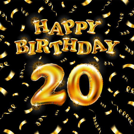 20 Happy Birthday message made of golden inflatable balloon twenty letters isolated on black background fly on gold ribbons with confetti. Happy birthday party balloons concept vector illustration
